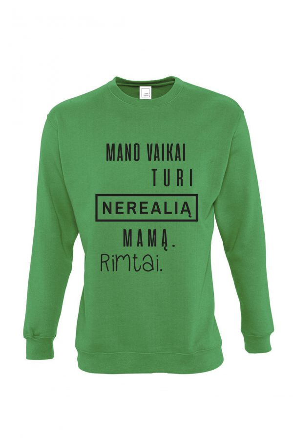 žalias džemperis su užrašu – spauda ant drabužių – dovana mamai – ačiū labai