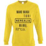geltonas džemperis su užrašu mamai – dovana mamai – ačiū labai