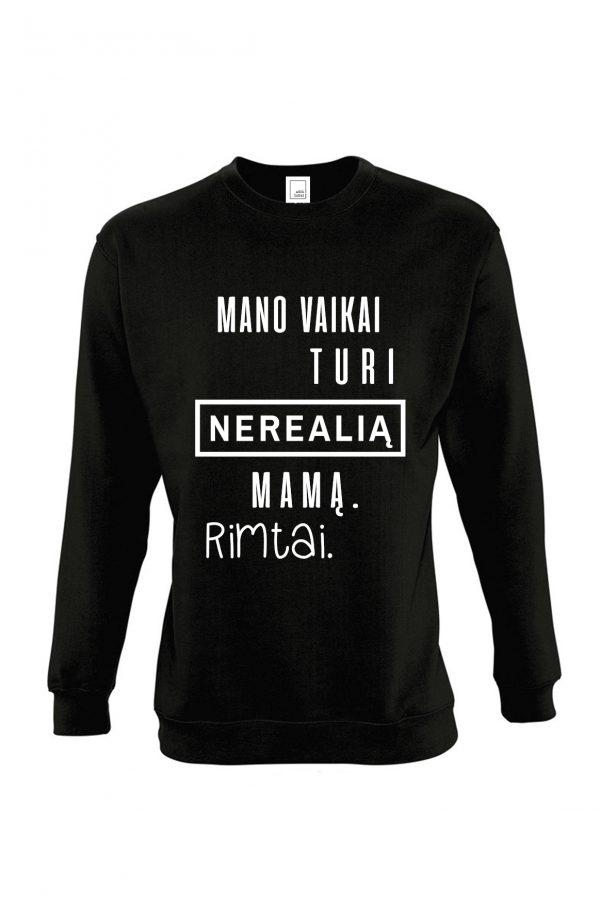 juodas džemperis su užrašu – nereali mama – ačiū labai