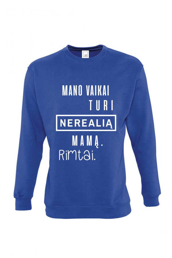 mėlynas džemperis su užrašu – dovana mamai – ačiū labai