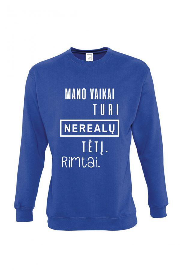 mėlynas džemperis su užrašu – spauda ant džemperių – ačiū labai