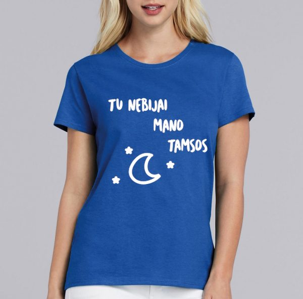mėlyni moteriški marškinėliai