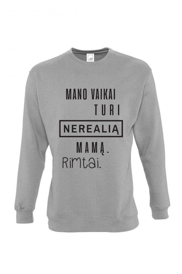 pilkas džemperis su užrašu – dovana mamai – spauda ant drabužių – ačiū labai