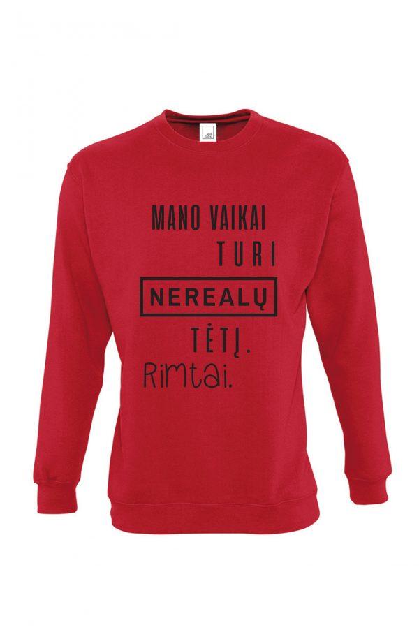 raudonas džemperis su užrašu – ačiū labai