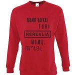 raudonas džemperis su užrašu – spauda ant drabužių – dovana mamai – ačiū labai