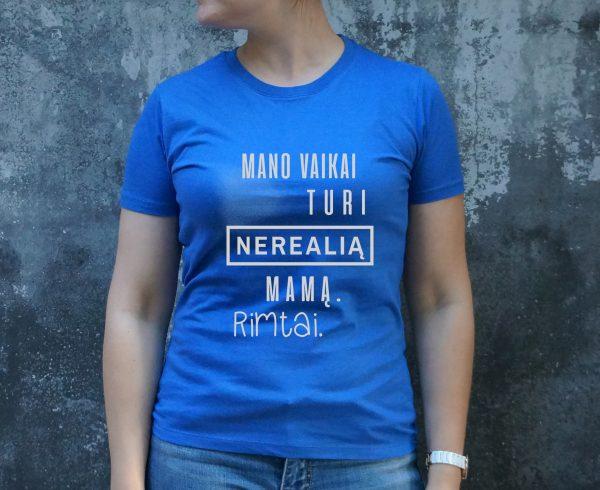 mėlyni marškinėliai su užrašu – spauda ant drabužių, dovana mamai- ačiū labai