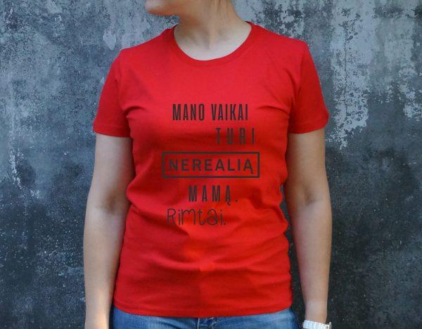 raudoni marškinėliai su užrašu – spauda ant drabužių – dovana mamai – ačiū labai