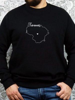 unisex džemperis su užrašu mano miestas Kaunas ačiū labai