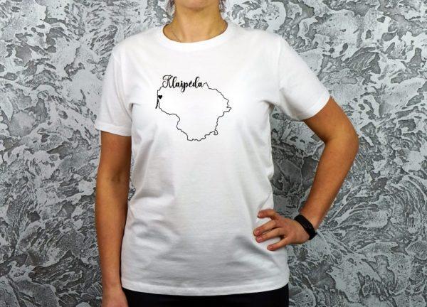 moteriški marškinėliai su užrašu mano miestas Klaipėda