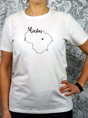personalizuoti moteriški balti marškinėliai su užrašu mano miestas ačiū labai