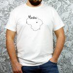 personalizuoti unisex balti marškinėliai su užrašu mano miestas ačiū labai
