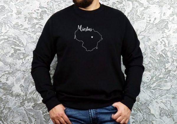 personalizuotas unisex džemperis su užrašu mano miestas ačiū labai