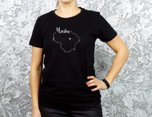 personalizuoti moteriški juodi marškinėliai su užrašu mano miestas ačiū labai