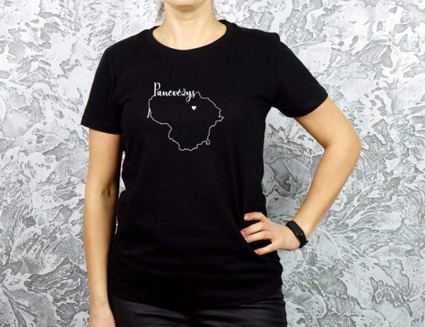 moteriški marškinėliai su užrašu mano miestas Panevėžys