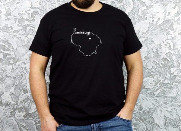 unisex marškinėliai su užrašu mano miestas Panevėžys