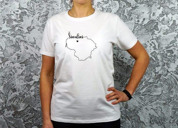 moteriški marškinėliai su užrašu mano miestas Šiauliai