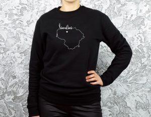 unisex modelio džemperis su užrašu mano miestas Šiauliai ir Lietuvos kontūru