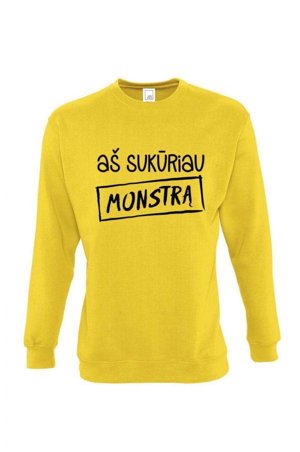 geltonas džemperis su užrašu aš sukūriau monstrą mamai arba tėčiui