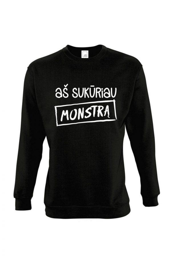juodas džemperis su užrašu aš sukūriau monstrą mamai arba tėčiui