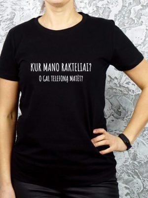 juodi marškinėliai su juokingu užrašu