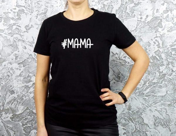juodi marškinėliai mamai