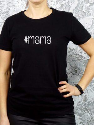 juodi marškinėliai su užrašu mama