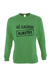 žalias džemperis su užrašu aš sukūriau monstrą mamai arba tėčiui