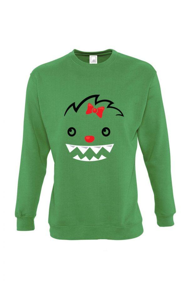 žalias vaikiškas džemperis mergaitei