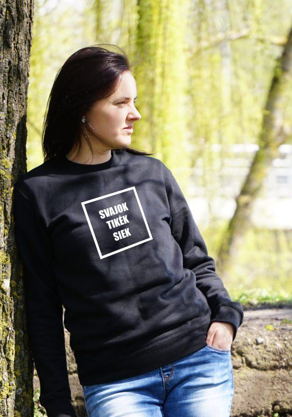 Unisex džemperis su užrašu Svajok tikėk siek