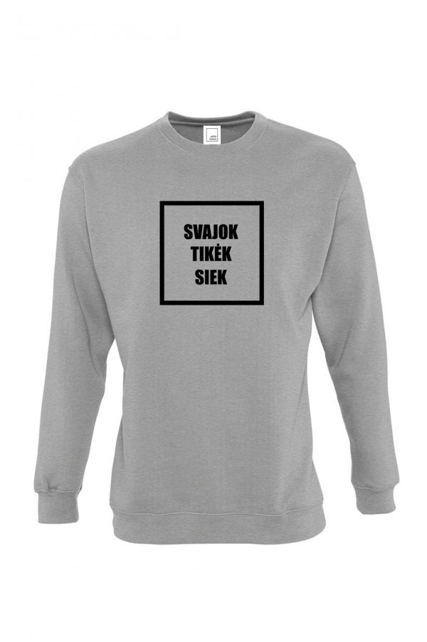 pilkas džemperis svajok tikėk siek
