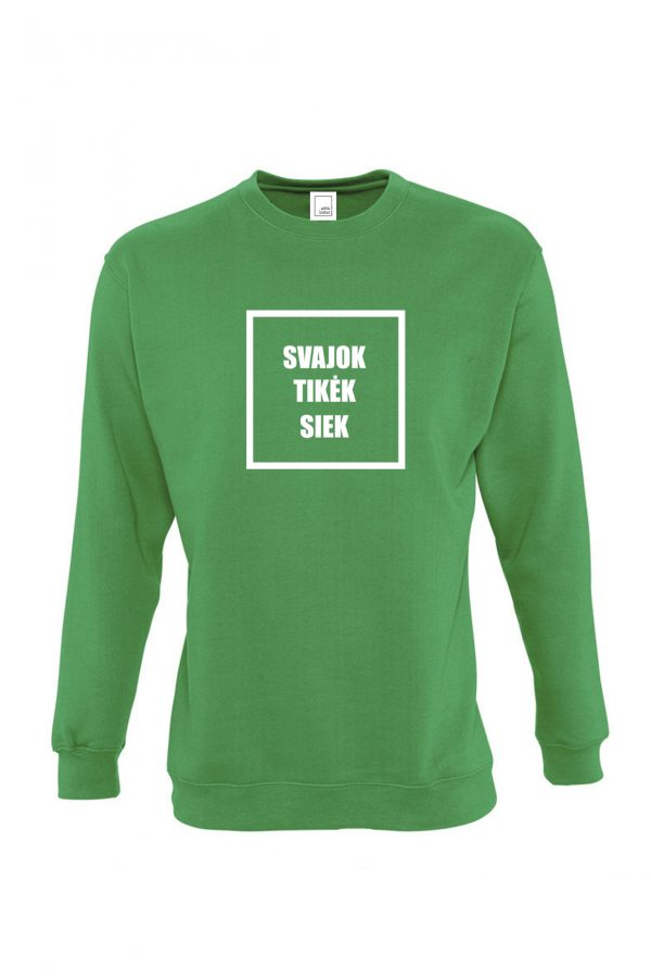 žalias džemperis svajok tikėk siek