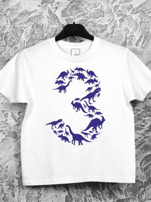 Vaikiški gimtadienio marškinėliai su spauda dinozaurų temos gimtadieniui