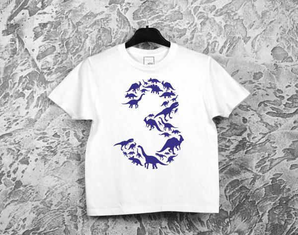 Balti gimtadienio marškinėliai 3 su dinozaurais