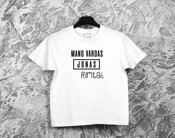Balti vaikiški marškinėliai Mano vardas Jonas Rimtai