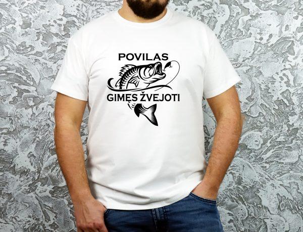Balti vyriški marškinėliai Povilas gimęs žvejoti
