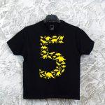 Juodi gimtadienio marškinėliai 5 su dinozaurais