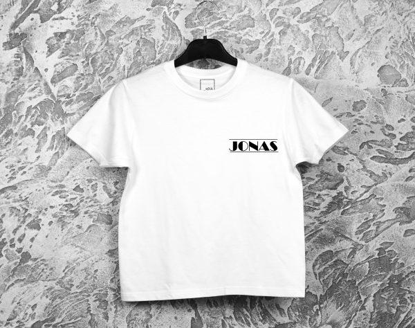 Marškinėliai Jonui mini dizainas balti