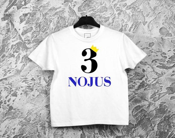 Marškinėliai vaiko gimtadieniui su skaičiumi ir vardu