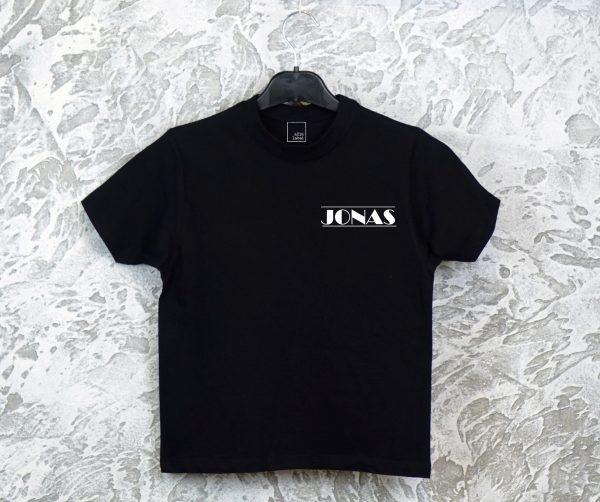Vaikiški marškinėliai Jonas mini dizainas juodi