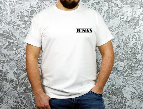 Vyriški marškinėliai Jonas mini dizainas balti