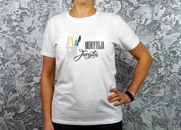 Balti marškinėliai Mokytoja Jurgita