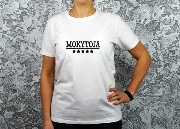 Balti moteriški marškinėliai mokytojai su užrašu 5 žvaigždučių mokytoja