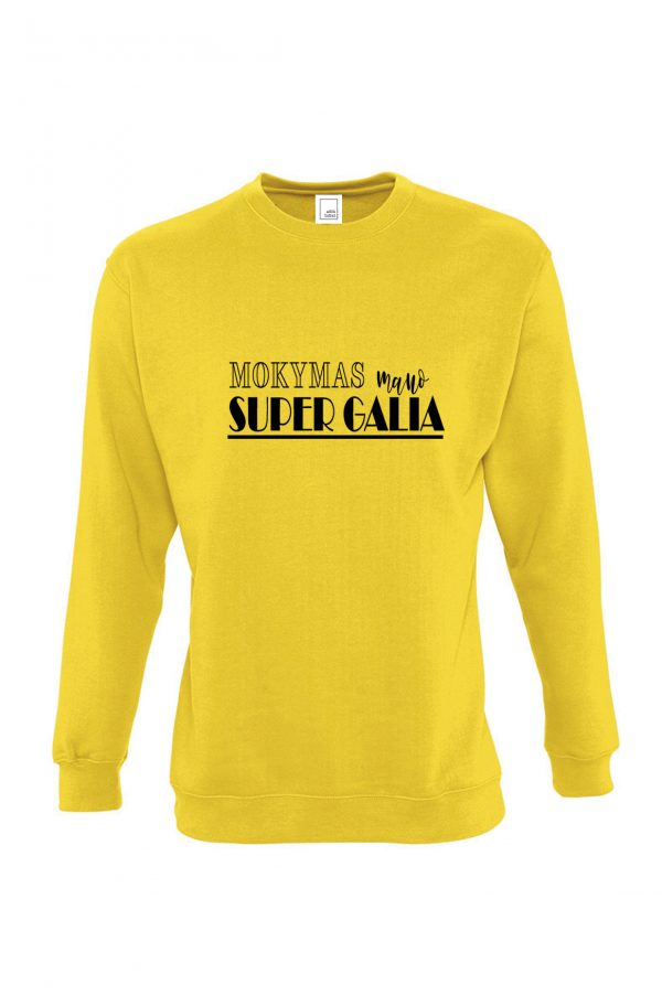 Geltonas džemperis Mokymas mano super galia