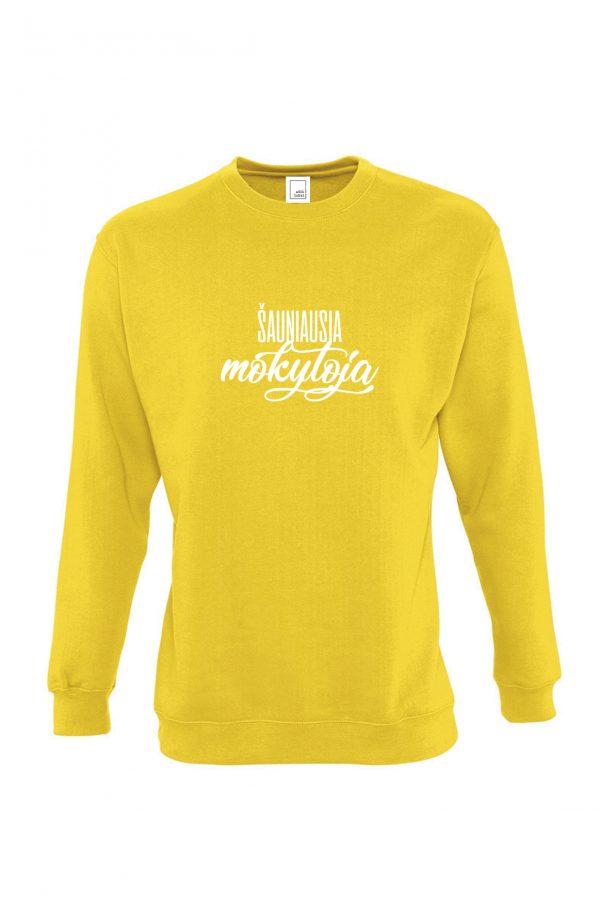 Geltonas džemperis su baltu užrašu Šauniausia mokytoja