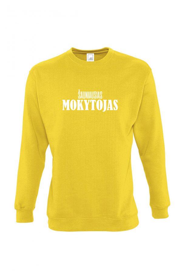 Geltonas džemperis su baltu užrašu Šauniausias mokytojas
