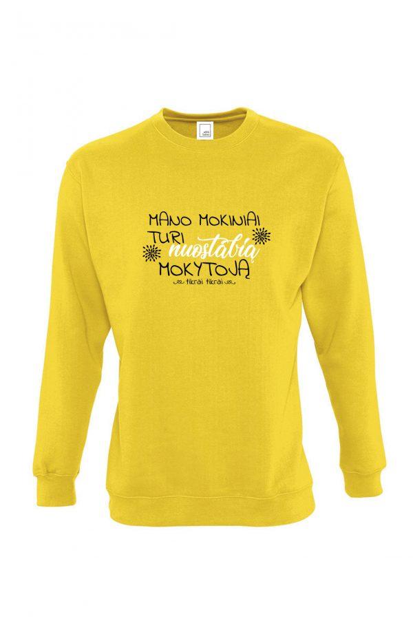 Geltonas džemperis su užrašu Mano mokiniai turi nuostabią mokytoją