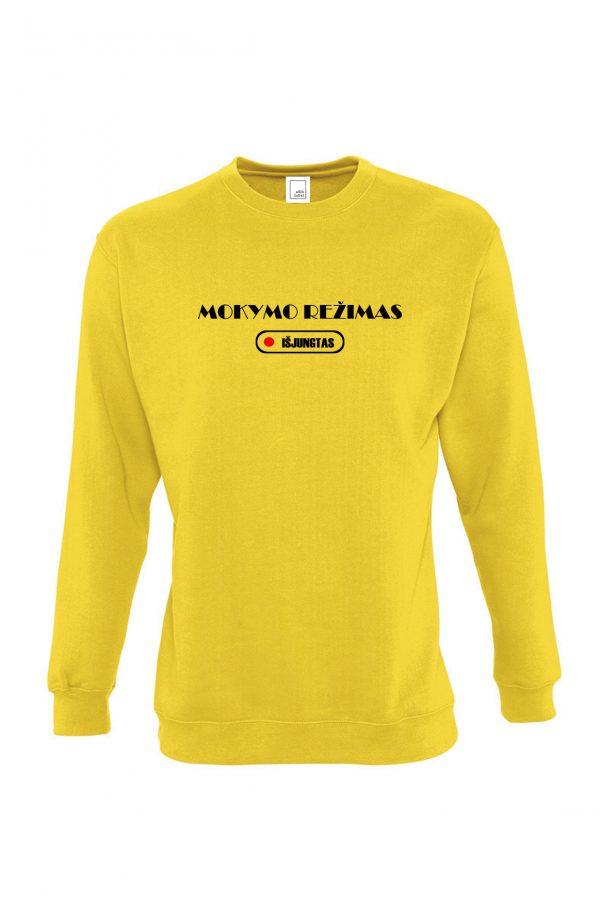 Geltonas džemperis su užrašu Mokymo režimas išjungtas