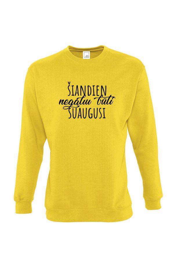 Geltonas džemperis su užrašu Šiandien negaliu būti suaugusi