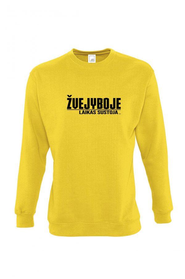 Geltonas džemperis su užrašu Žvejyboje laikas sustoja