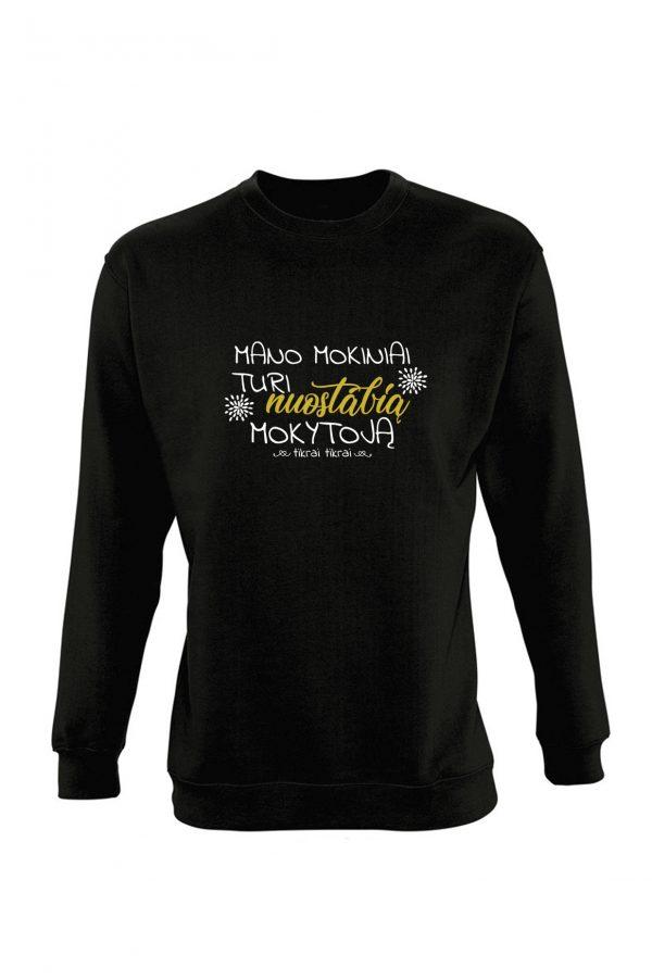 Juodas džemperis su užrašu Manomokiniai turi nuostabią mokytoją